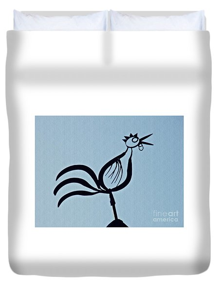 Crowing Rooster Duvet Cover by Sarah Loft