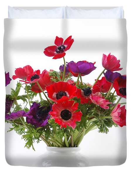 crown Anemone in a white vase Duvet Cover by Ilan Amihai