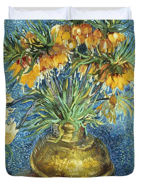 Crown Imperial Fritillaries In A Copper Vase Duvet Cover