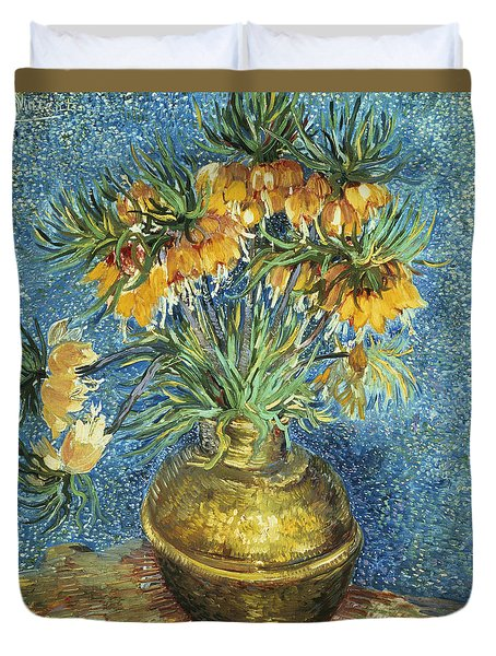 Crown Imperial Fritillaries In A Copper Vase Duvet Cover by Vincent Van Gogh