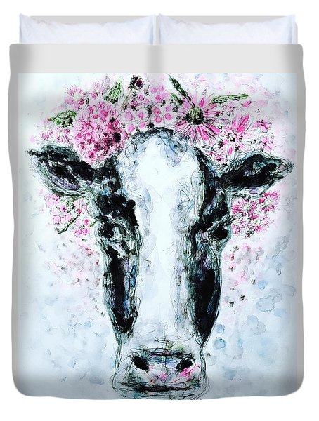Duvet Cover featuring the painting Crown Of Flowers Cow by Monique Faella