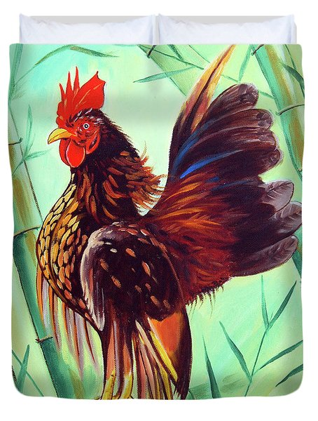 Crown Of The Serama Chicken Duvet Cover
