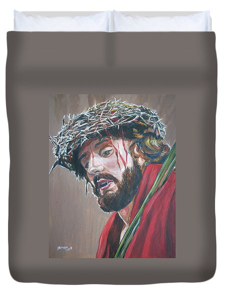 Duvet Cover featuring the painting Crown Of Thorns by Bryan Bustard