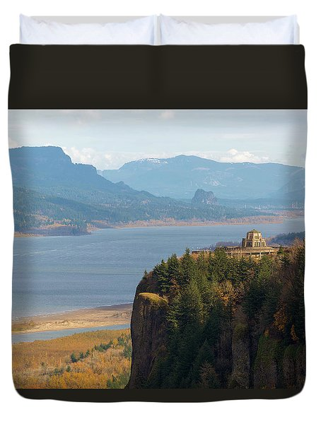 Crown Point On Columbia River Gorge Duvet Cover