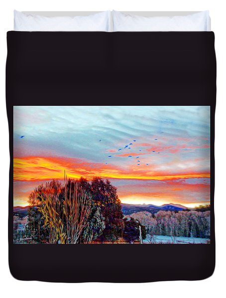 Crows Before Dawn El Valle New Mexico Duvet Cover by Anastasia Savage Ealy