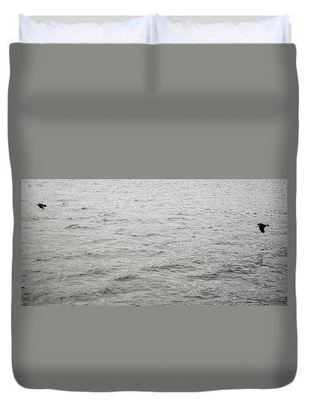 Crows In Flight Duvet Cover