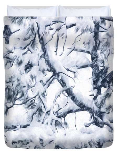 Crows In Snow Duvet Cover