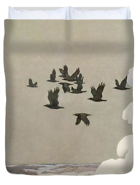Crows In Winter Duvet Cover