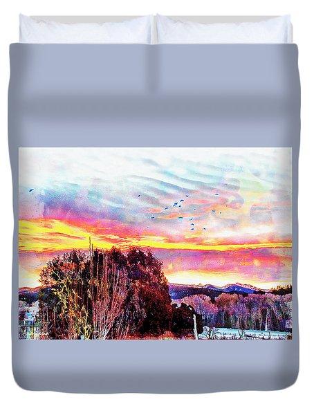 Crows Over Pre Dawn El Valle Duvet Cover by Anastasia Savage Ealy