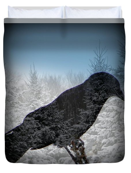 Crow's Winter Shadow Duvet Cover