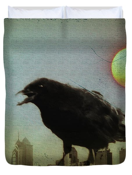 Crowzilla Duvet Cover by Bill Cannon