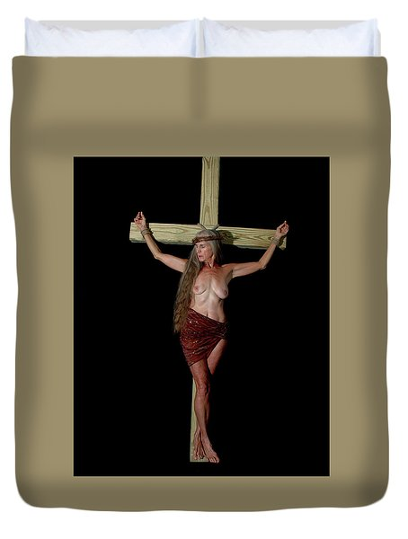 Crucifixion Of A Woman Duvet Cover