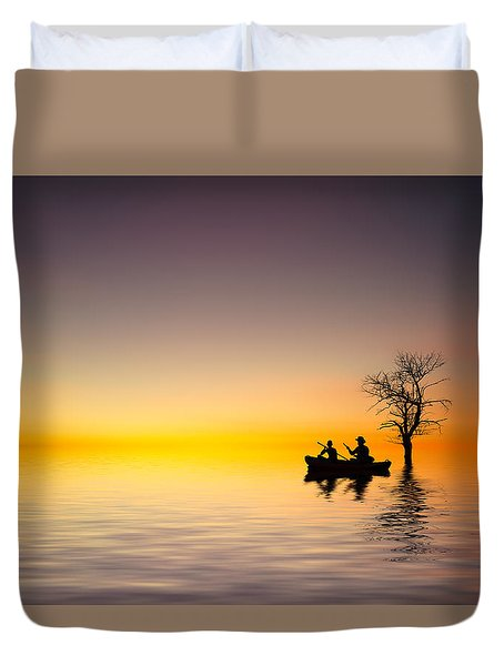 Duvet Cover featuring the pyrography Cruise by Bess Hamiti