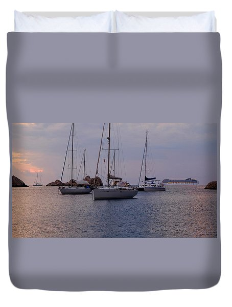 Cruise Liner Passing Duvet Cover