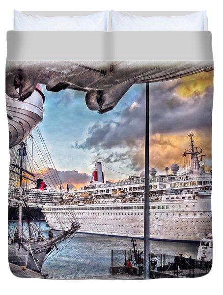Cruise Port - Light Duvet Cover by Hanny Heim