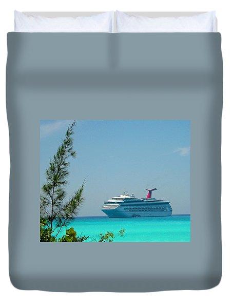 Cruise Ship At Half Moon Cay Duvet Cover