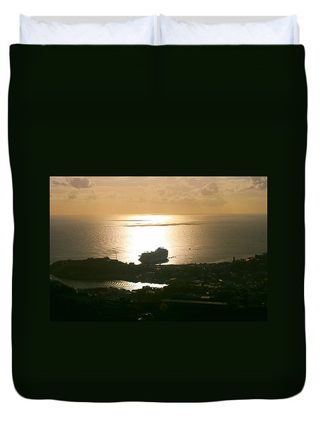 Cruise Ship At Sunset Duvet Cover