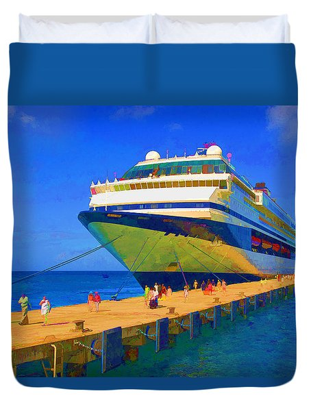 Duvet Cover featuring the photograph Cruise Ship Dock by Dennis Cox WorldViews