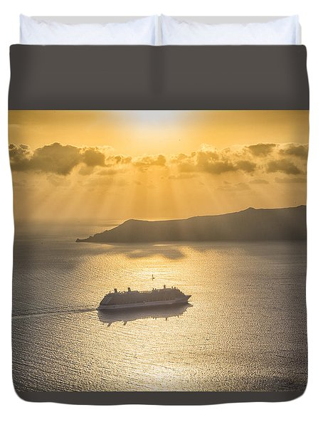 Duvet Cover featuring the tapestry - textile Cruise Ship In Greece by Kathy Adams Clark