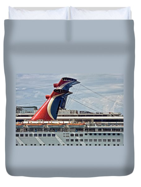 Cruise Ships In Cozumel, Mexico Duvet Cover