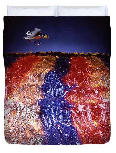 Cruising Above The Sea Of Worms Duvet Cover