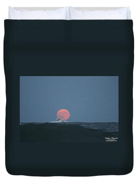 Cruising On A Wave During Harvest Moon Duvet Cover