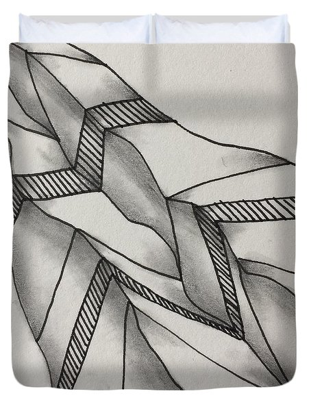 Duvet Cover featuring the drawing Crumpled by Jan Steinle