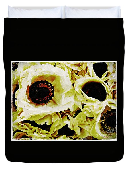 Duvet Cover featuring the photograph Crumpled White Poppies by Sarah Loft