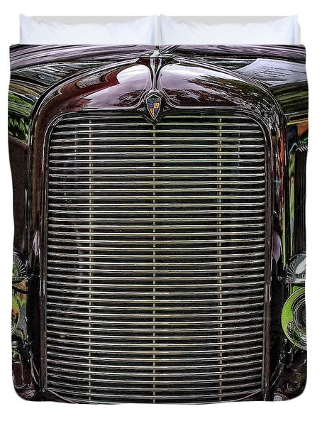Duvet Cover featuring the photograph Crusin' With A 32 Desoto by Thom Zehrfeld