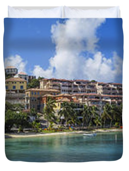 Duvet Cover featuring the photograph Cruz Bay, St. John by Adam Romanowicz
