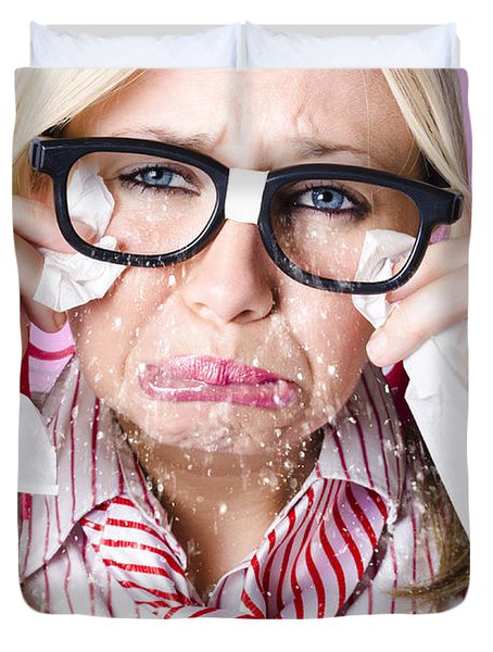 Cry Baby Businesswoman Crying A Waterfall Of Tears Duvet Cover