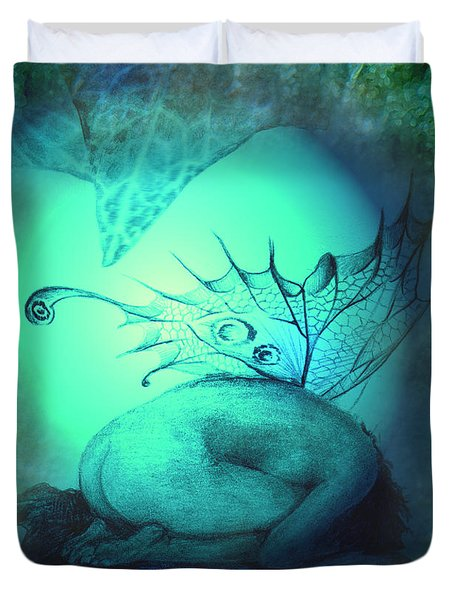 Duvet Cover featuring the painting Crying Fairy by Ragen Mendenhall