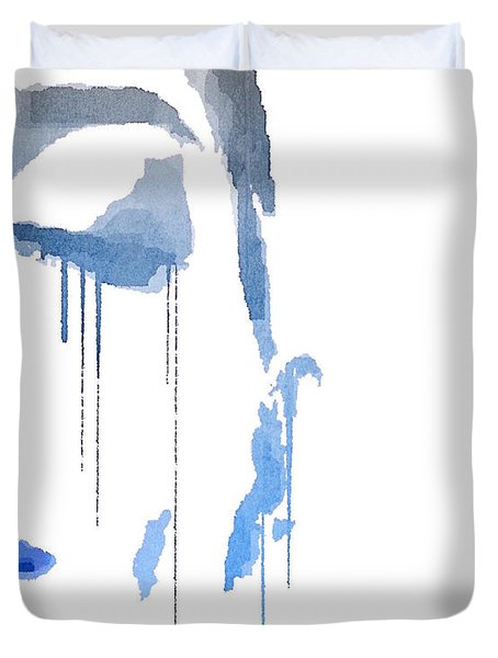 Duvet Cover featuring the digital art Crying In Pain by ISAW Company