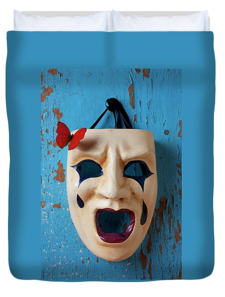 Crying Mask And Red Butterfly Duvet Cover by Garry Gay