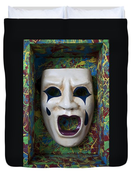 Crying Mask In Box Duvet Cover by Garry Gay