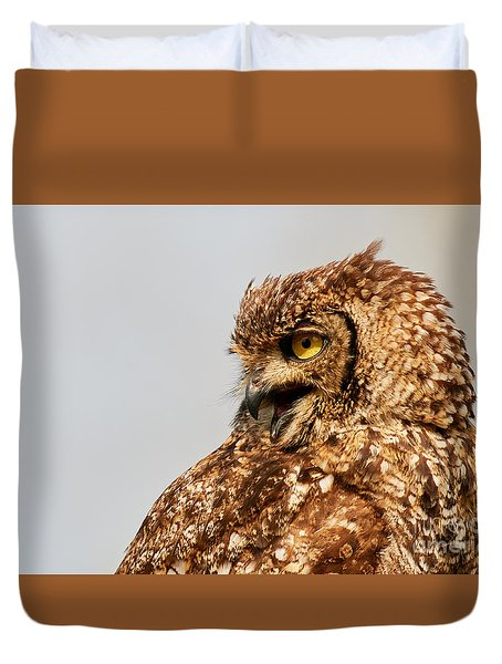 Duvet Cover featuring the photograph Crying Spotted Eagle-owl  by Nick Biemans