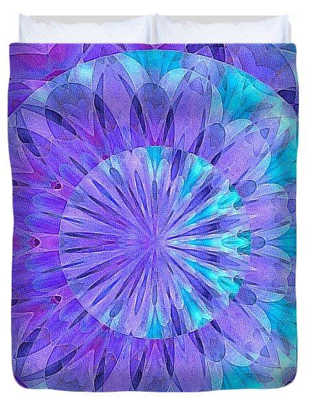 Duvet Cover featuring the digital art Crystal Aurora Borealis by Susan Maxwell Schmidt