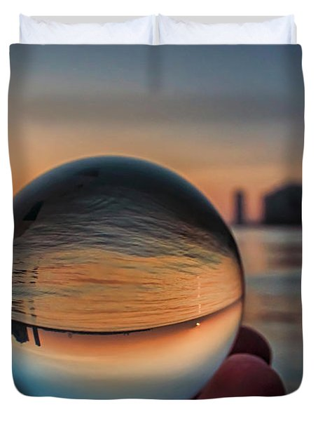 Crystal Ball On Chicago's Lakefront At Sunrise Duvet Cover