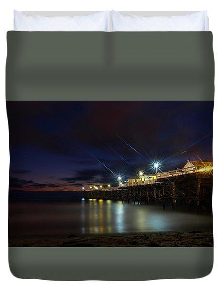 Crystal Beach Pier Blue Hour  Duvet Cover