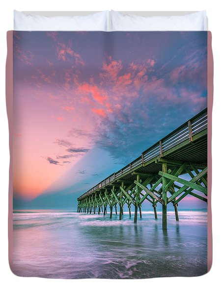 Duvet Cover featuring the photograph Crystal Beach Pier Sunset In North Carolina by Ranjay Mitra