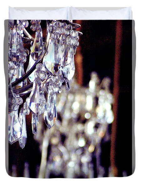 Duvet Cover featuring the photograph Crystal Chandelier Close Up by D Renee Wilson