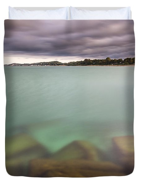 Duvet Cover featuring the photograph Crystal Clear Lake Michigan Waters by Adam Romanowicz