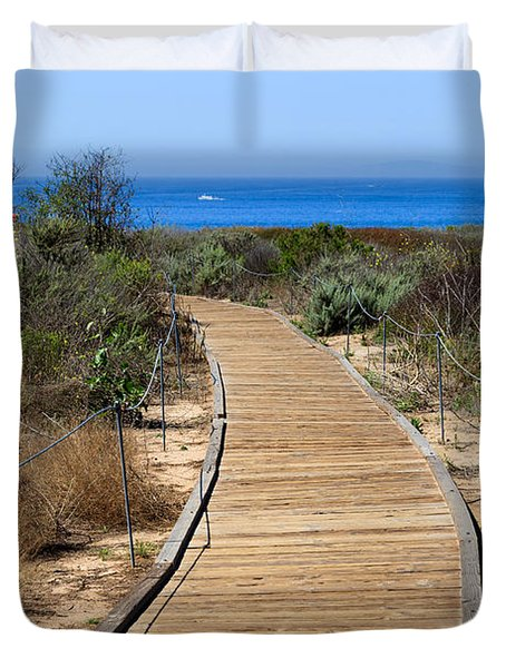 Crystal Cove State Park Wooden Walkway Duvet Cover by Paul Velgos