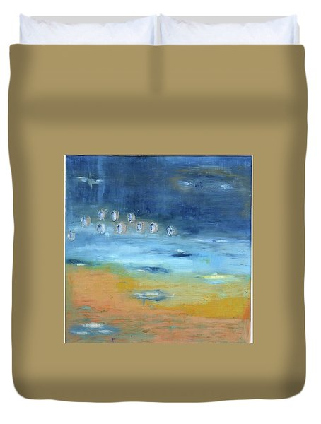 Duvet Cover featuring the painting Crystal Deep Waters by Michal Mitak Mahgerefteh