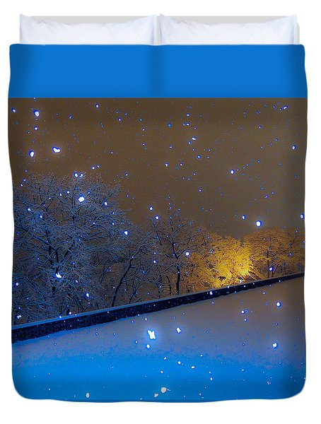 Duvet Cover featuring the photograph Crystal Falls by Glenn Feron