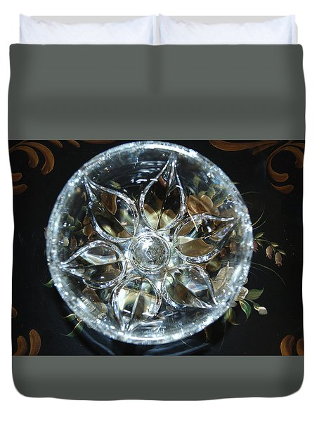Crystal Floral On Black Duvet Cover