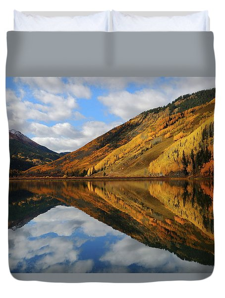 Crystal Lake Autumn Reflection Duvet Cover