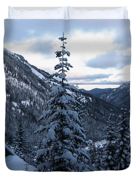 Crystal Mountain Dawn Duvet Cover by Lorraine Devon Wilke
