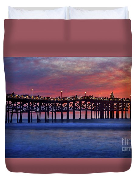 Crystal Pier In Pacific Beach Decorated With Christmas Lights Duvet Cover