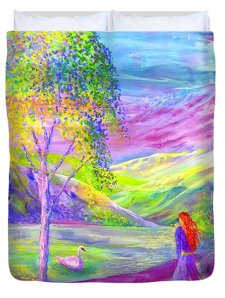Duvet Cover featuring the painting Crystal Pond, Silver Birch Tree And Swan by Jane Small